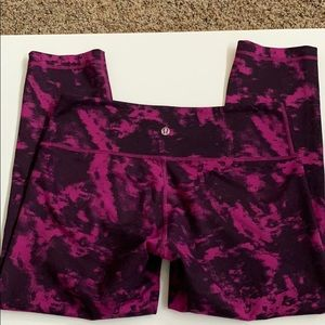 Purple and Black Lululemon Crop Pant